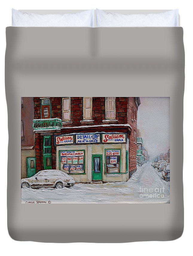 Montreal Duvet Cover featuring the painting Salaison Ideale Montreal by Carole Spandau