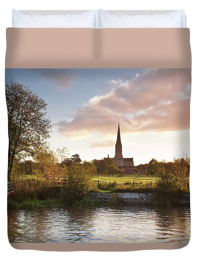 Tranquility Duvet Cover featuring the photograph Salisbury Cathedral And The River Avon by Julian Elliott Photography