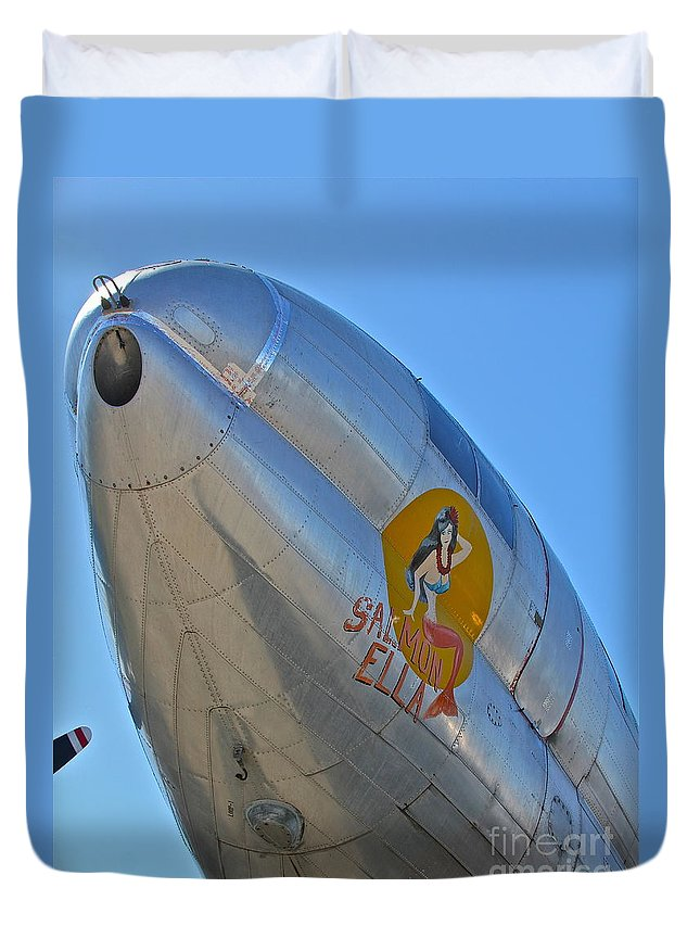 Aircraft Duvet Cover featuring the photograph Salmon Ella by Rick Monyahan