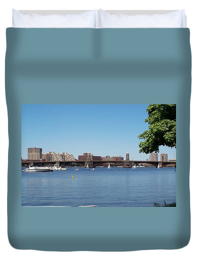 longfellow Bridge Duvet Cover featuring the photograph Salt And Pepper Bridge by Barbara McDevitt