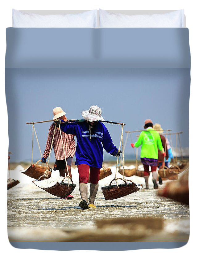 Child Duvet Cover featuring the photograph Salt Farm In Thailand by Monthon Wa