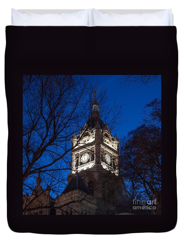 Salt Lake Duvet Cover featuring the photograph Salt Lake City And County Building At Night by Gary Whitton