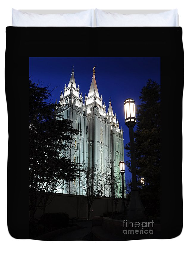Mormon Duvet Cover featuring the photograph Salt Lake Mormon Temple At Night by Gary Whitton