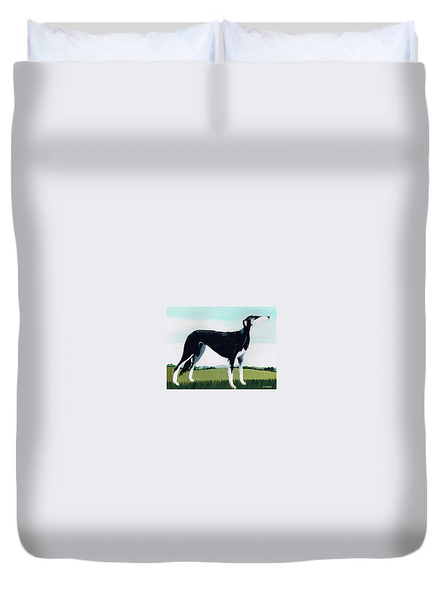 Saluki Cross Duvet Cover featuring the painting Saluki Cross by Maggie Rowe