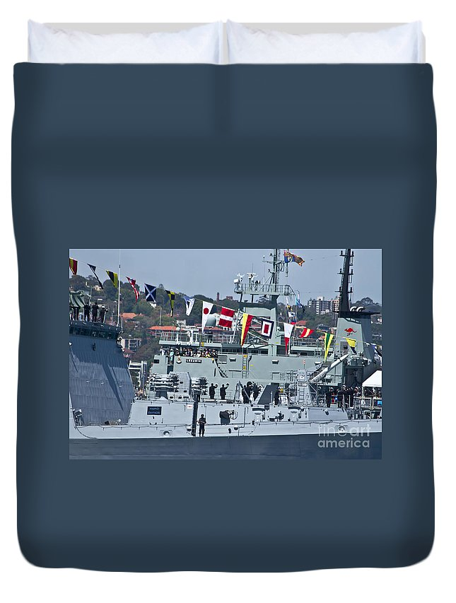 Saluting Duvet Cover featuring the photograph Saluting To Prince Harry by Miroslava Jurcik