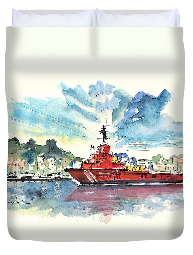Travel Duvet Cover featuring the painting Salvage Ship In Cartagena by Miki De Goodaboom