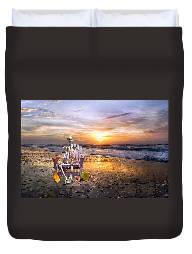 Beach Duvet Cover featuring the photograph Sam Releases The Starfish by Betsy Knapp