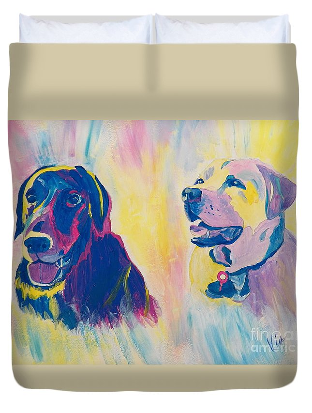 Labs Duvet Cover featuring the painting Sammy And Toby by Judy Via-Wolff