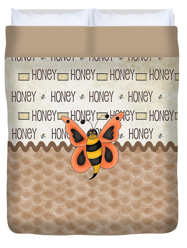 Bee Duvet Cover featuring the digital art Sammy The Honey Bee by Debra Miller