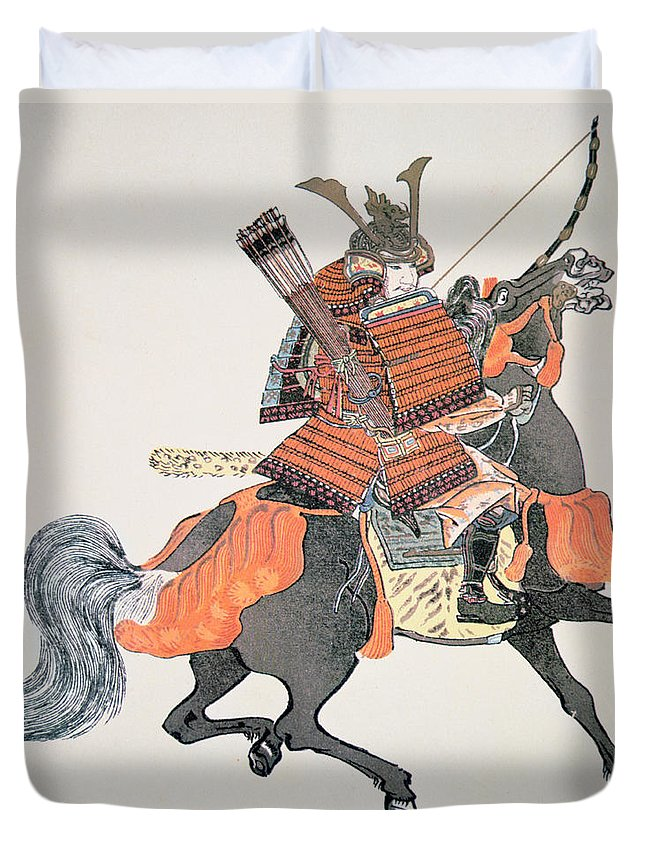 Japan Duvet Cover featuring the painting Samurai by Japanese School