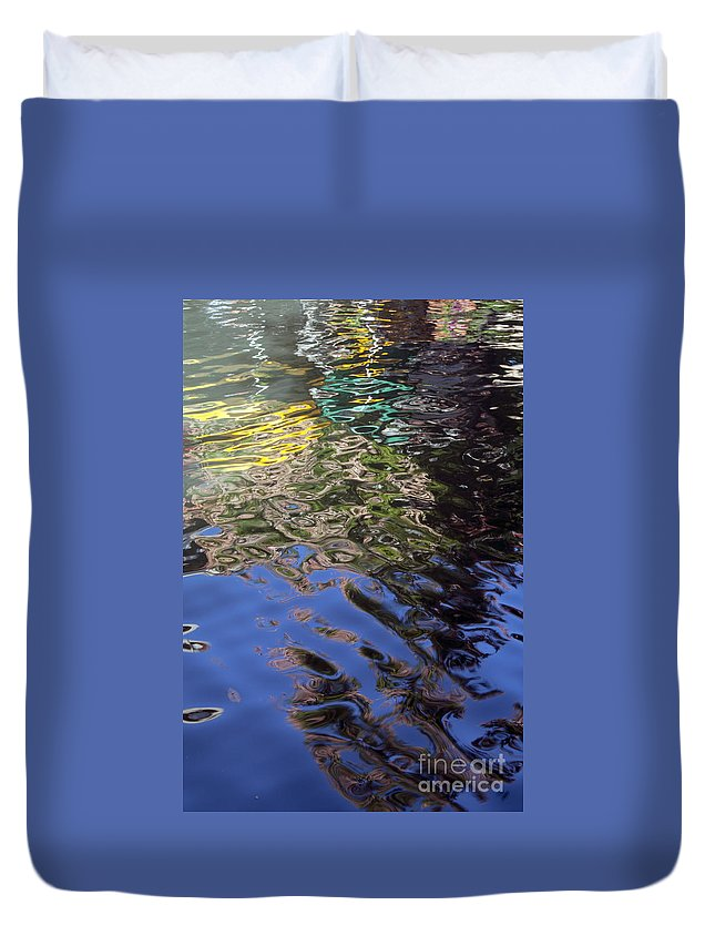 San Antonio Texas Riverwalk River Rivers Waterscape Waterscapes Reflection Reflections Abstract Abstracts Duvet Cover featuring the photograph San Antonio River Reflection by Bob Phillips