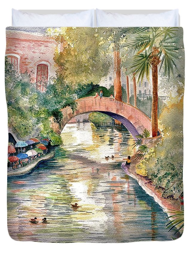 San Antonio Riverwalk Duvet Cover featuring the painting San Antonio Riverwalk by Marilyn Smith