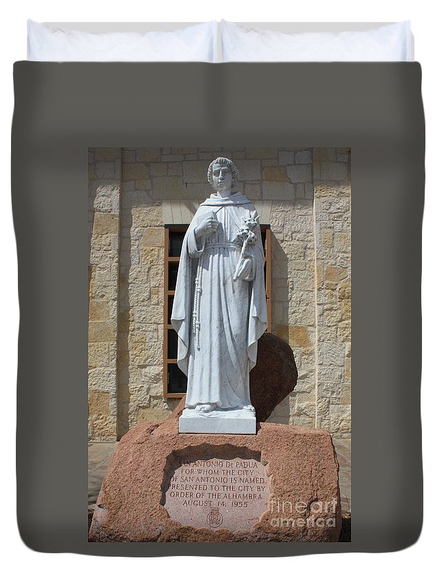 San Antonio Duvet Cover featuring the photograph San Antonio Statue by Carol Groenen
