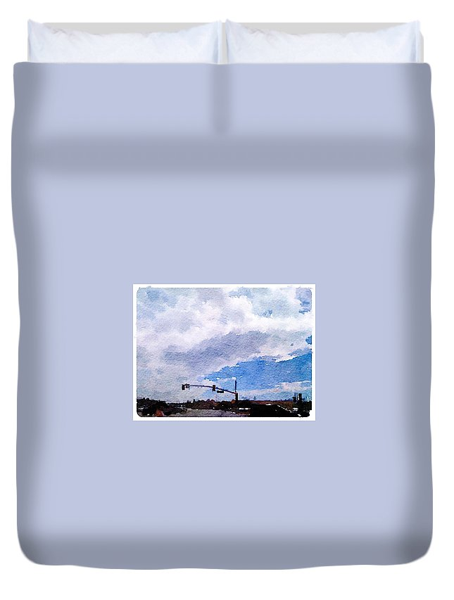 Waterlogue Duvet Cover featuring the digital art San Benito Sky by Shannon Grissom