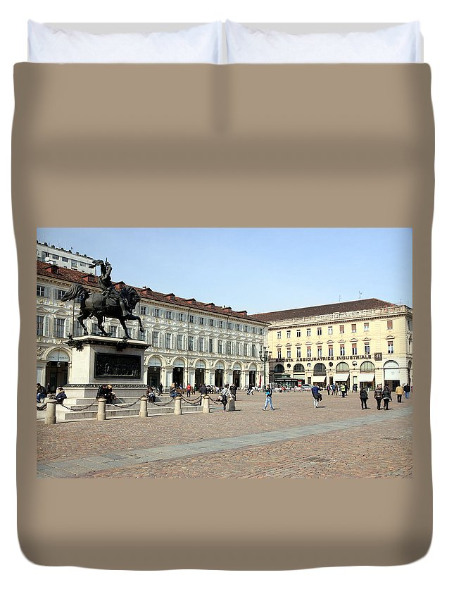 Piazza Duvet Cover featuring the photograph San Carlo Square In Turin by Valentino Visentini
