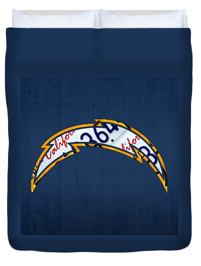 San Diego Duvet Cover featuring the mixed media San Diego Chargers Football Team Retro Logo California License Plate Art by Design Turnpike