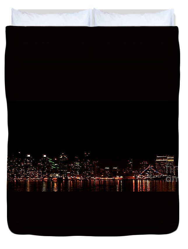 San Diego Duvet Cover featuring the photograph San Diego Night Skyline by Tommy Anderson