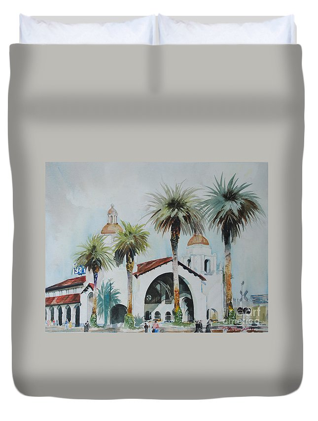 Landscape Duvet Cover featuring the painting San Diego by P Anthony Visco