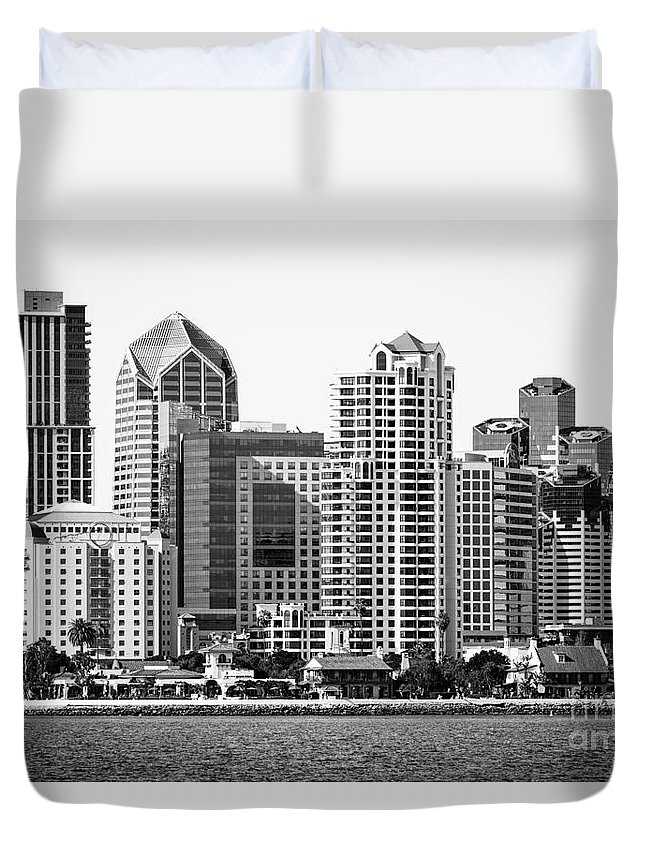 2012 Duvet Cover featuring the photograph San Diego Skyline In Black And White by Paul Velgos