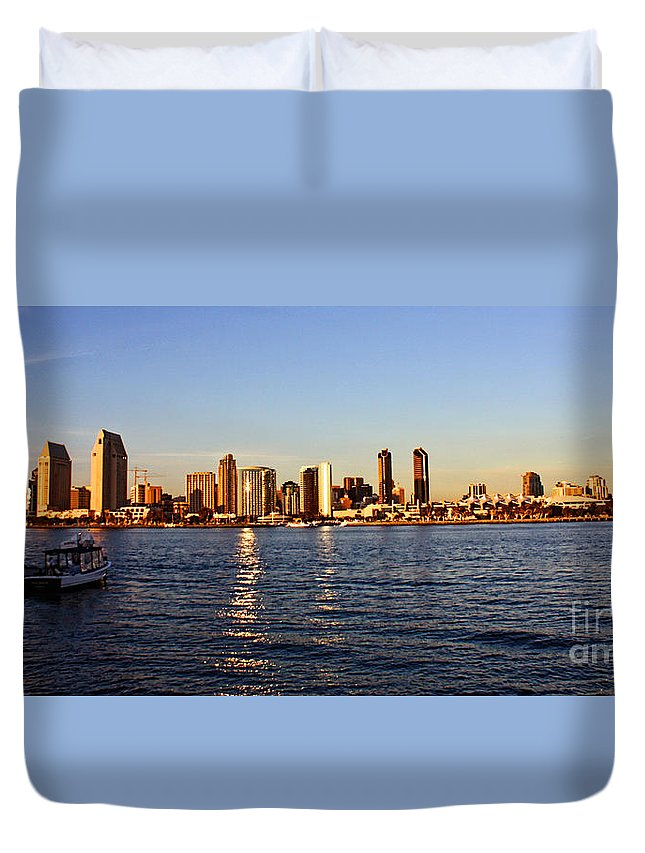 San Diego Duvet Cover featuring the photograph San Diego Skyline by Tommy Anderson
