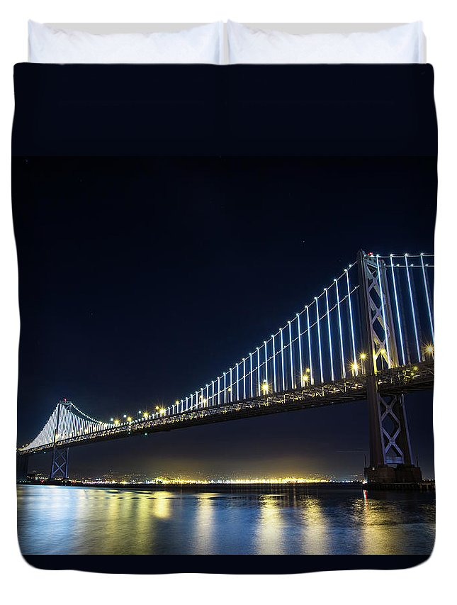 California Duvet Cover featuring the photograph San Francisco Bay Bridge With Led Lights by Halbergman