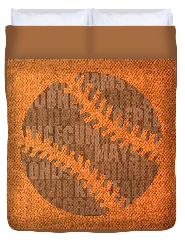 San Duvet Cover featuring the mixed media San Francisco Giants Baseball Typography Famous Player Names On Canvas by Design Turnpike