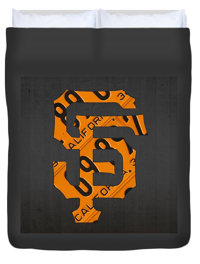 San Duvet Cover featuring the mixed media San Francisco Giants Baseball Vintage Logo License Plate Art by Design Turnpike