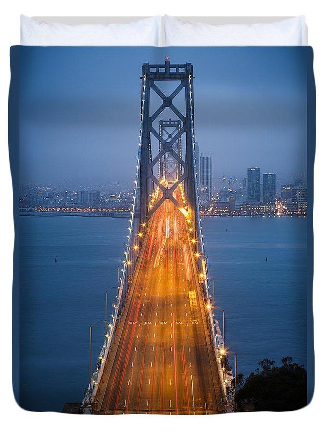 3scape Duvet Cover featuring the photograph San Francisco - Oakland Bay Bridge by Adam Romanowicz