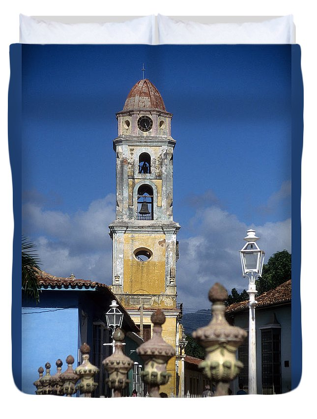 Cuba Duvet Cover featuring the photograph San Francisco Tower Trinidad by James Brunker