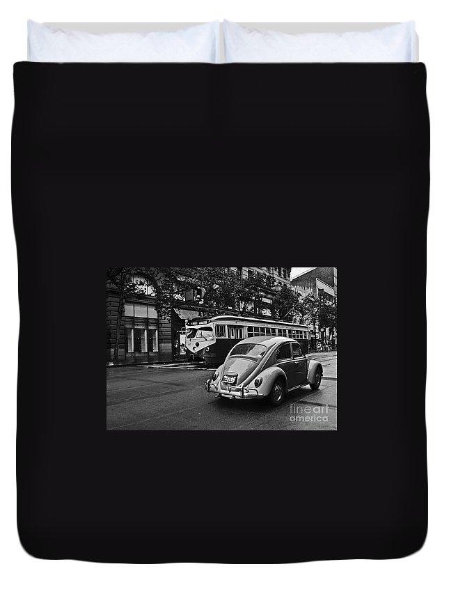Eua Duvet Cover featuring the photograph San Francisco Vintage Scene by Carlos Alkmin