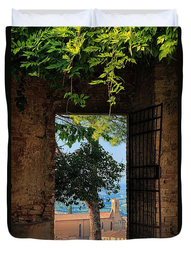 Europe Duvet Cover featuring the photograph San Gimignano Door by Inge Johnsson