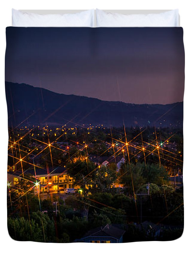 San Jose Duvet Cover featuring the photograph San Jose At Dusk by Tony Noto