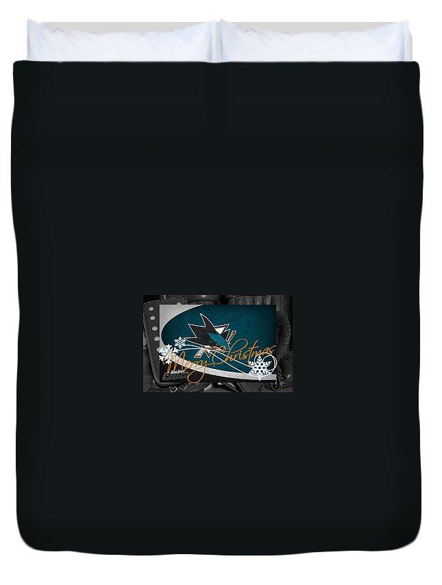 Sharks Duvet Cover featuring the photograph San Jose Sharks Christmas by Joe Hamilton