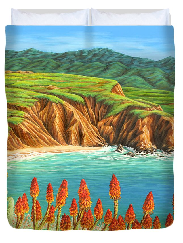 Ocean Duvet Cover featuring the painting San Mateo Springtime by Jane Girardot