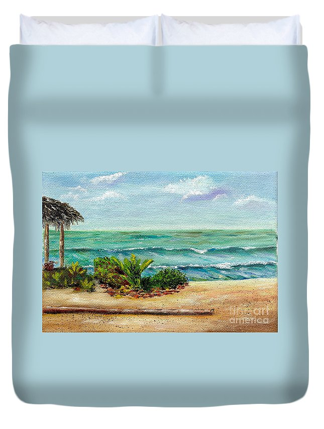 Beach Duvet Cover featuring the painting San Onofre Beach by Mary Scott