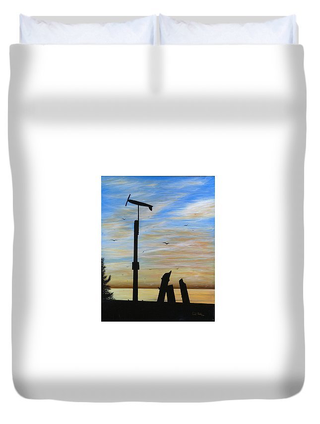 Sano Framed Prints Duvet Cover featuring the painting San Onofre Sunrise by Paul Carter