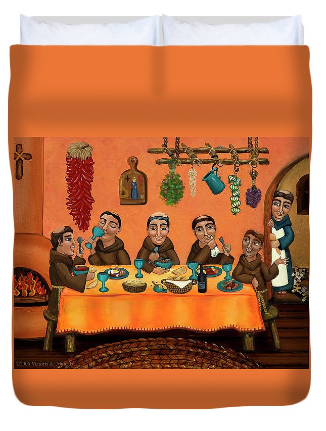 Hispanic Art Duvet Cover featuring the painting San Pascuals Table by Victoria De Almeida