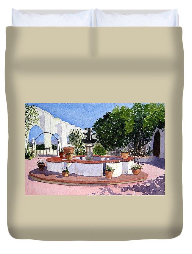 San Xavier Duvet Cover featuring the painting San Xavier Courtyard by Julia RIETZ