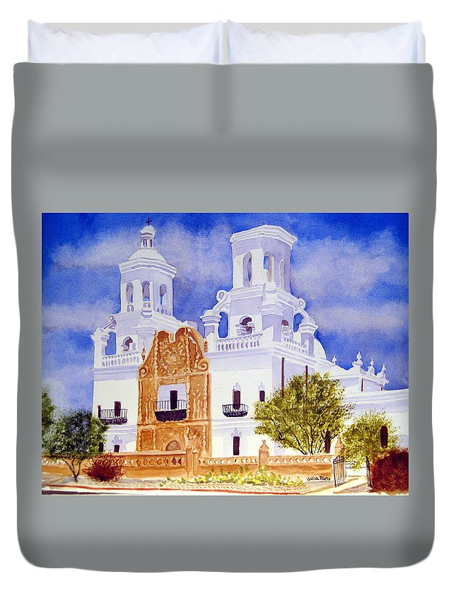 San Xavier Duvet Cover featuring the painting San Xavier Mission by Julia RIETZ