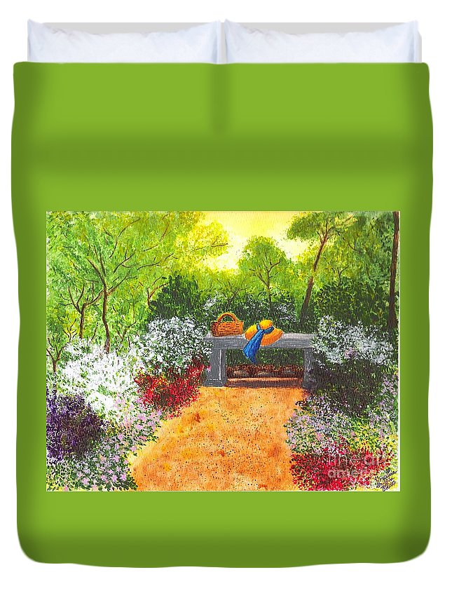 Garden Painting Duvet Cover featuring the painting Sanctuary by Patricia Griffin Brett