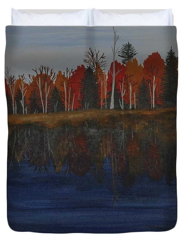 Fall Trees Duvet Cover featuring the painting Sanctuary Pond by Sally Rice