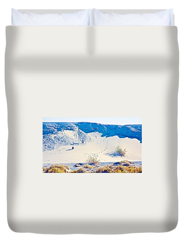 Sand Dune Bordering Salt Creek Trail In Death Valley National Park Duvet Cover featuring the photograph Sand Dune Bordering Salt Creek Trail In Death Valley National Park-california by Ruth Hager