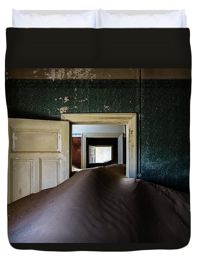 Sand Dune Duvet Cover featuring the photograph Sand Dune In Door Frame Of Abandoned by Pixelchrome Inc