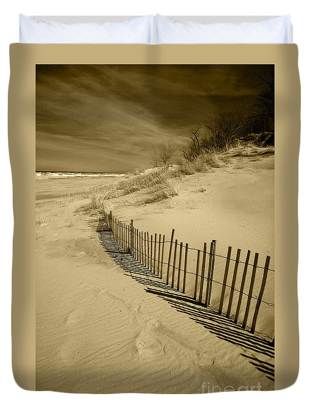 Sand Dunes Duvet Cover featuring the photograph Sand Dunes And Fence by Timothy Johnson