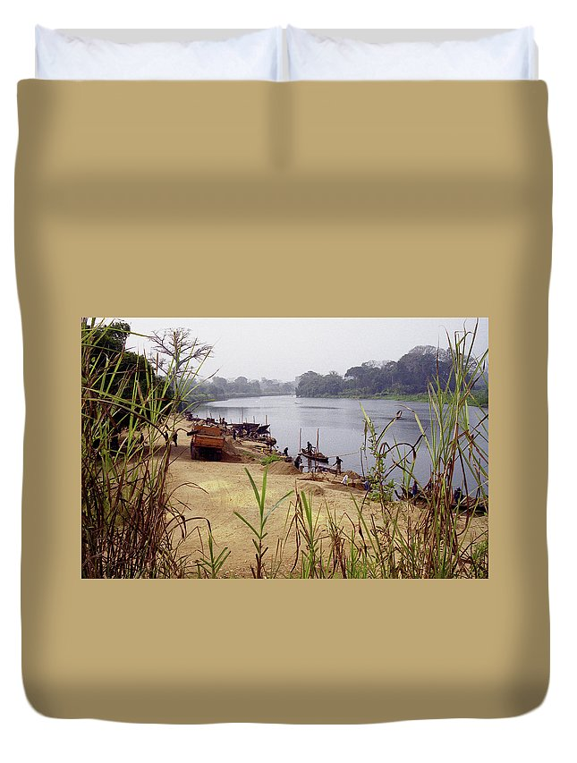 Cameroon Duvet Cover featuring the photograph Sand Mining by Michael Peychich