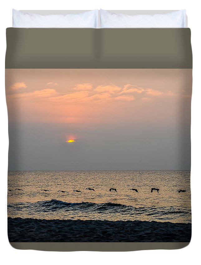 Beach Cottage Life Duvet Cover featuring the photograph Sand Sea Sun by Mary Hahn Ward