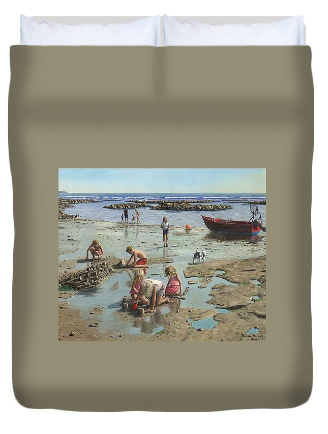 Landscape Duvet Cover featuring the painting Sandcastles by Richard Harpum