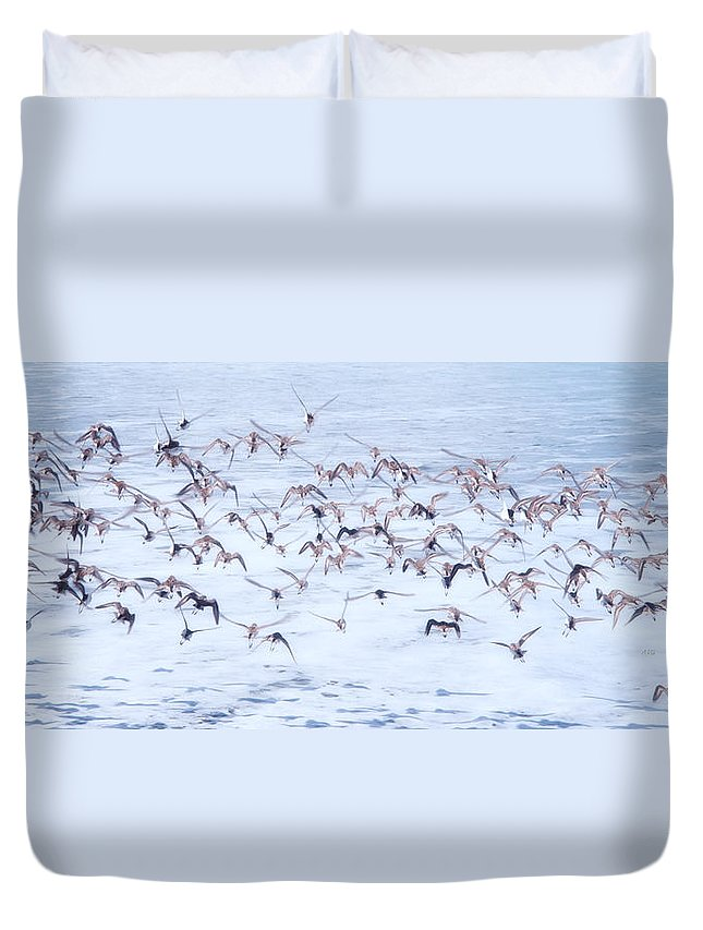 Tofino Duvet Cover featuring the photograph Sandpiper Abstract by Allan Van Gasbeck