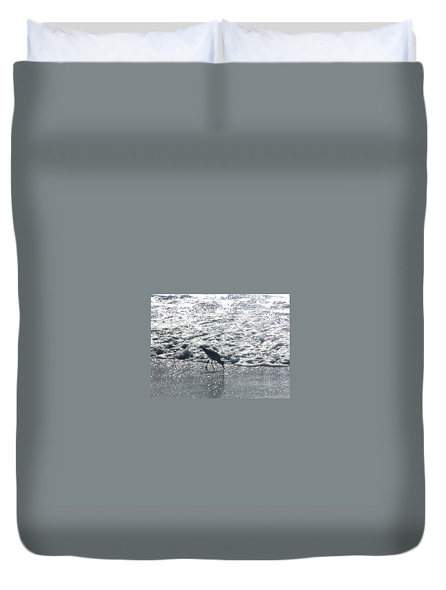 Bird Duvet Cover featuring the photograph Sandpiper Finds Food In Surf by Jussta Jussta