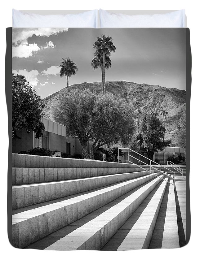 Sandpiper Duvet Cover featuring the photograph Sandpiper Stairs Bw Palm Desert by William Dey